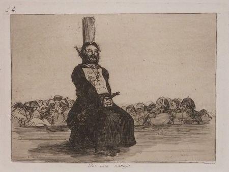 Grabado Goya - POR UNA NAVAJA