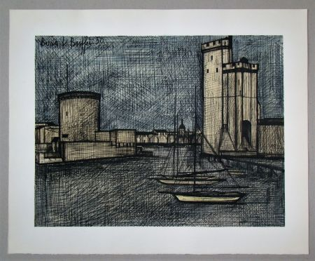 Litografía Buffet - Port de la Rochelle, 1950
