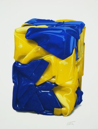 Litografía Cesar - Portrait compression en jaune et bleu