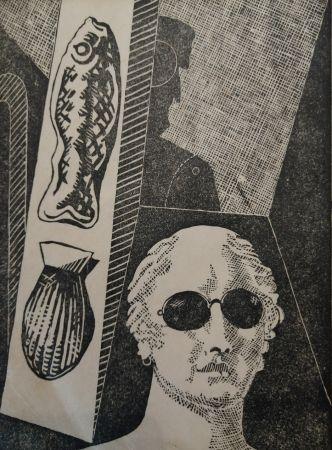 Grabado En Madera De Chirico - Portrait d'Apollinaire
