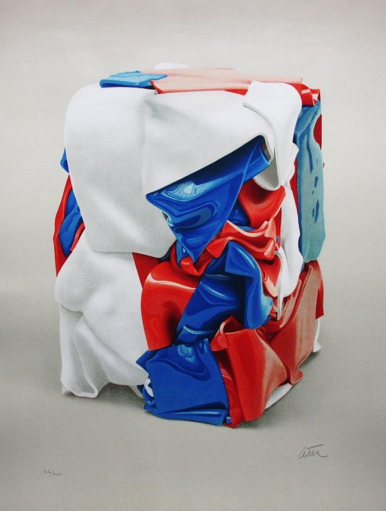 Litografía Cesar - Portrait de compression bleu-blanc-rouge