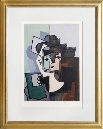 Litografía Picasso - Portrait de Face sur Fond Rose et Vert