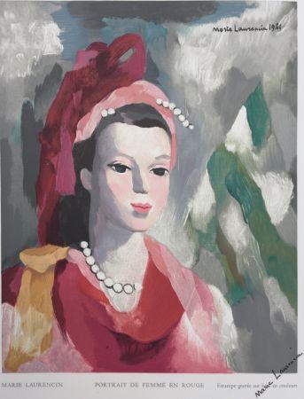 Grabado En Madera Laurencin - Portrait de Femme en rouge
