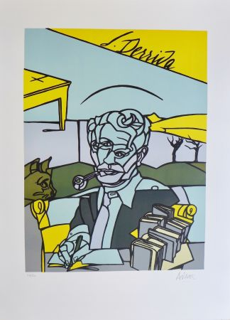 Litografía Adami - Portrait de Jacques Derrida