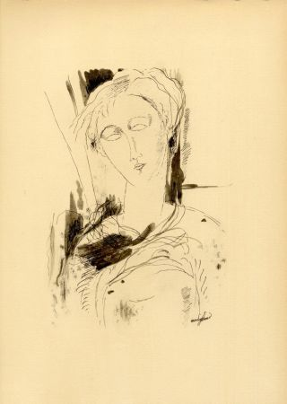Colografía Modigliani - PORTRAIT DE JEUNE FEMME (1918/20) de l'album : Douze Contemporains par J. Lassaigne (1959)