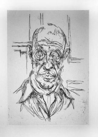 Grabado Giacometti - Portrait de Michel Leiris