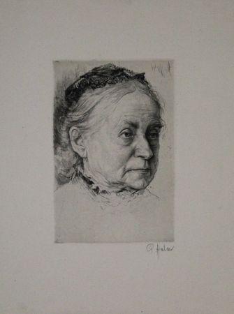Grabado Halm - Portrait einer alten Dame