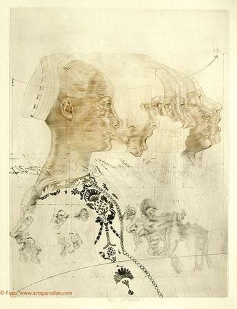 Aguafuerte Anderlê - Portrait eines Mädchens nach Veneziano (1979)