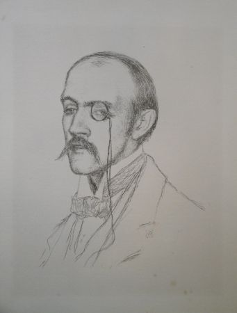 "Litografía Rysselberghe - Portrait ""Henri de Regnier"""