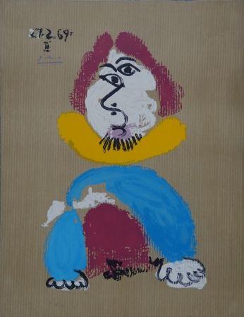 Litografía Picasso - Portrait Imaginaire - Homme au col jaune