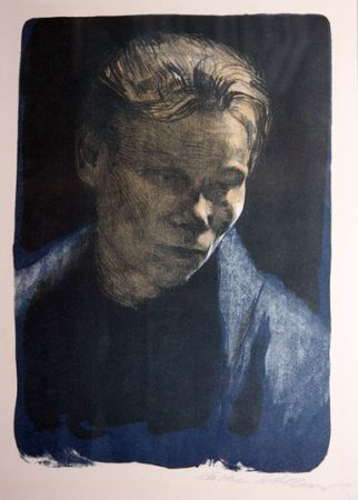 Litografía Kollwitz - Portrait of working class woman with blue towel