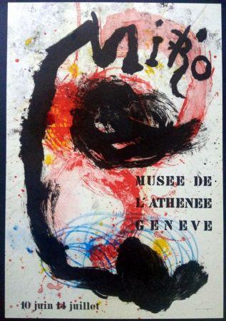 Litografía Miró - Poster for exhibition at Musée de l'Athenée Geneva