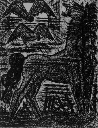 Aguafuerte Gromaire - Présage, cheval noir, et oiseaux de nuit