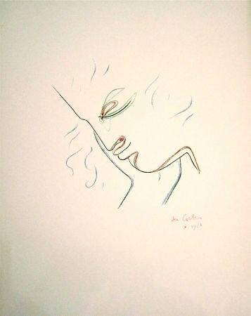 Litografía Cocteau - Profil de garcon en couleur