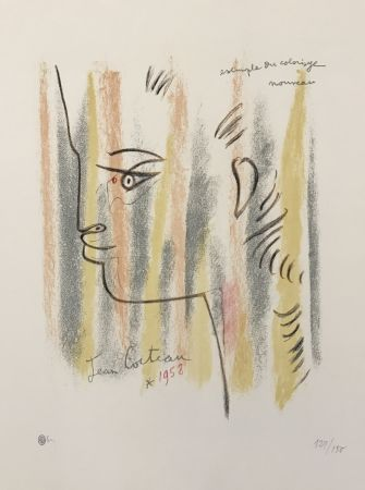 Litografía Cocteau - Profile in Yellow, Pink, and Green