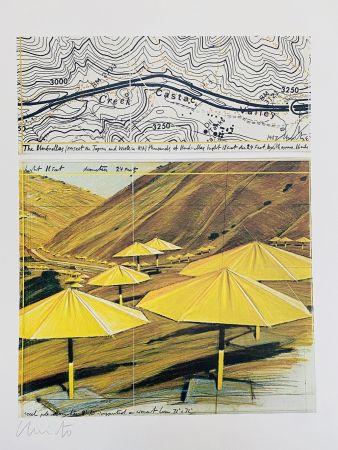 Litografía Christo - Project pour California Site, Umbrellas