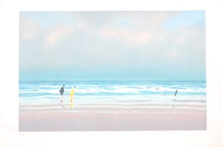 Litografía Doutreleau - Promenade a la plage