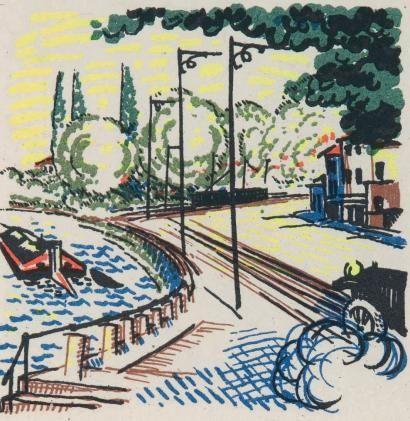 Libro Ilustrado Laboureur - Promenade avec Gabrielle. Texte et images lithographiés en couleurs par Jean Giraudoux et Jean-Emile Laboureur.