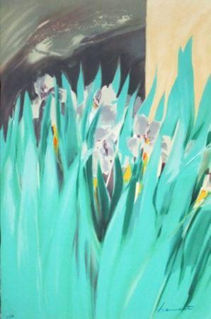 Litografía Hemeret  - Provence aux iris