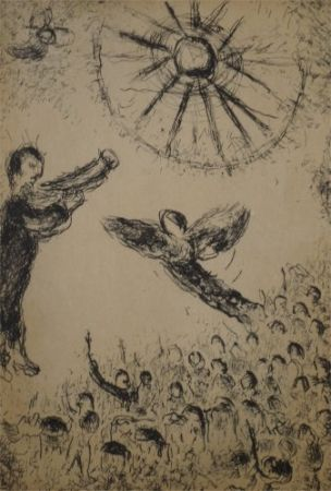 Aguafuerte Y Aguatinta Chagall - Psaumes de David, planche 15