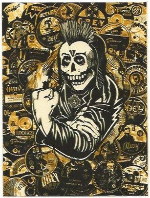 Serigrafía Fairey - Psycho Posse Gold