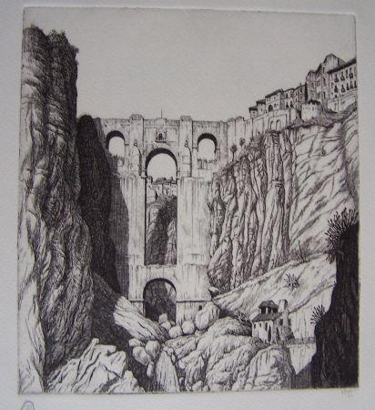 Grabado Strang - Puente Nuevo, Ronda, Spain