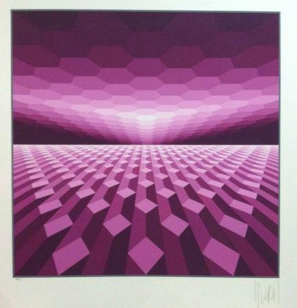 Serigrafía Yvaral - Purple horizon