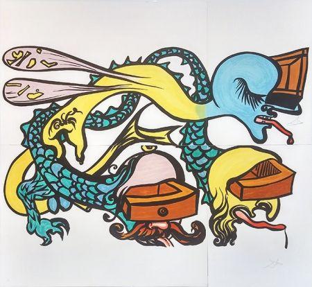 Litografía Dali - PUZZLE OF LIFE (IDRA A TRE TESTE)