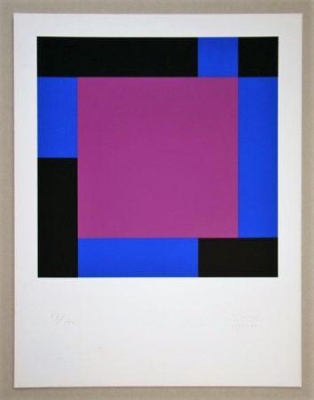 Serigrafía Bill - Quadrat in gegenläufigen Reflexionen