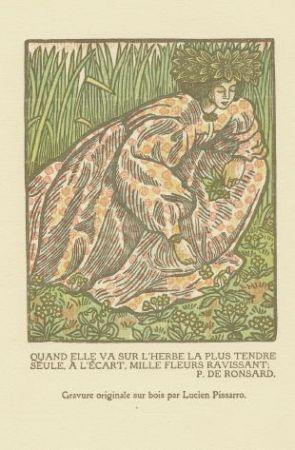 Grabado En Madera Pissarro - Quand elle va sur l'herbe... / Girl Picking Flowers