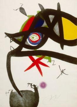 Aguafuerte Y Aguatinta Miró - Quatre Colors Aparien El Món, Plate Iv