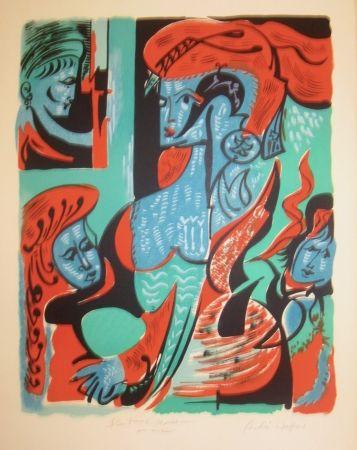 Litografía Masson - Quatre dames