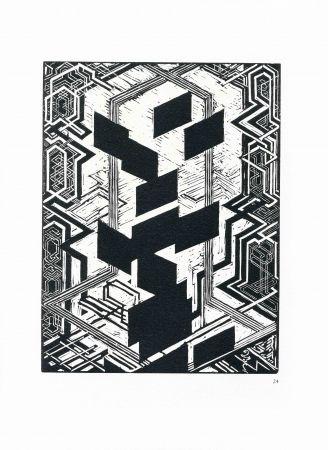 Grabado En Madera Kupka - Quatre histoires de blanc et de noir.