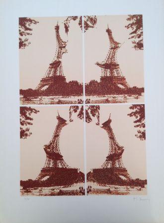Litografía Bury - Quatre tours Eiffel juxtaposées