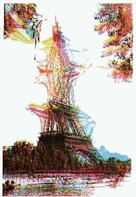 Litografía Bury - Quatre tours Eiffel superposées