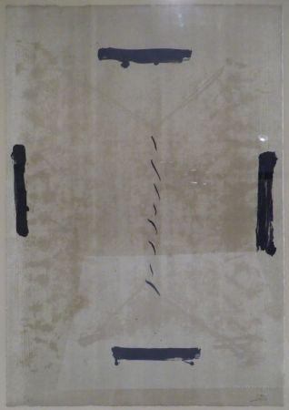 Litografía Tàpies - Quatre traces noires