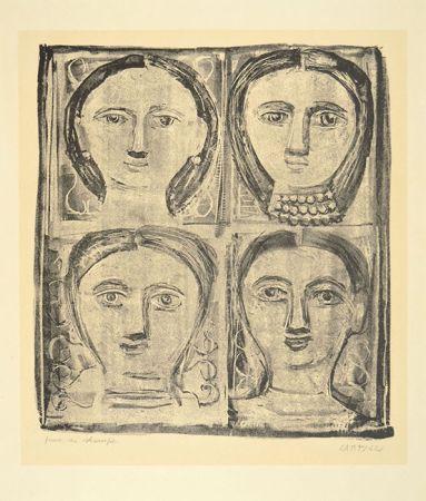 Litografía Campigli - QUATTRO TESTE, 1942