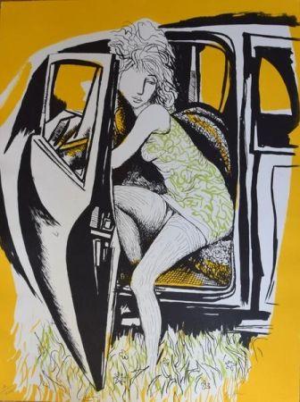 Litografía Guttuso - Ragazza che scende dall'auto