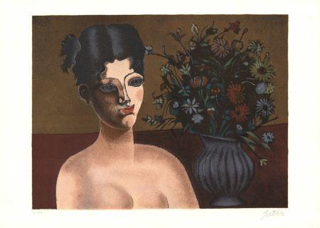 Litografía Gentilini - Ragazza con vaso di fiori