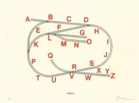Litografía Brossa - Rails