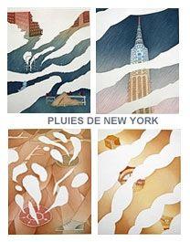 Aguafuerte Y Aguatinta Folon - Rains of New York - Pluies de New York (complet suite)