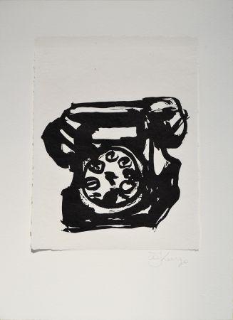 Linograbado Kentridge - Rebus Telephone