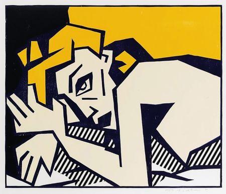 Grabado En Madera Lichtenstein - Reclining Nude
