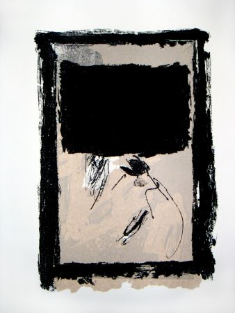 Grabado Tapies - Rectangle Noir Et Collage