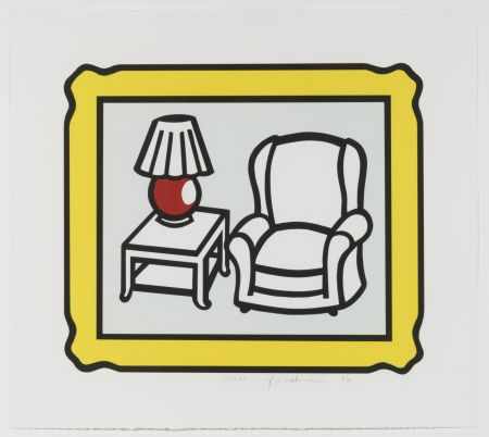Litografía Lichtenstein - Red Lamp