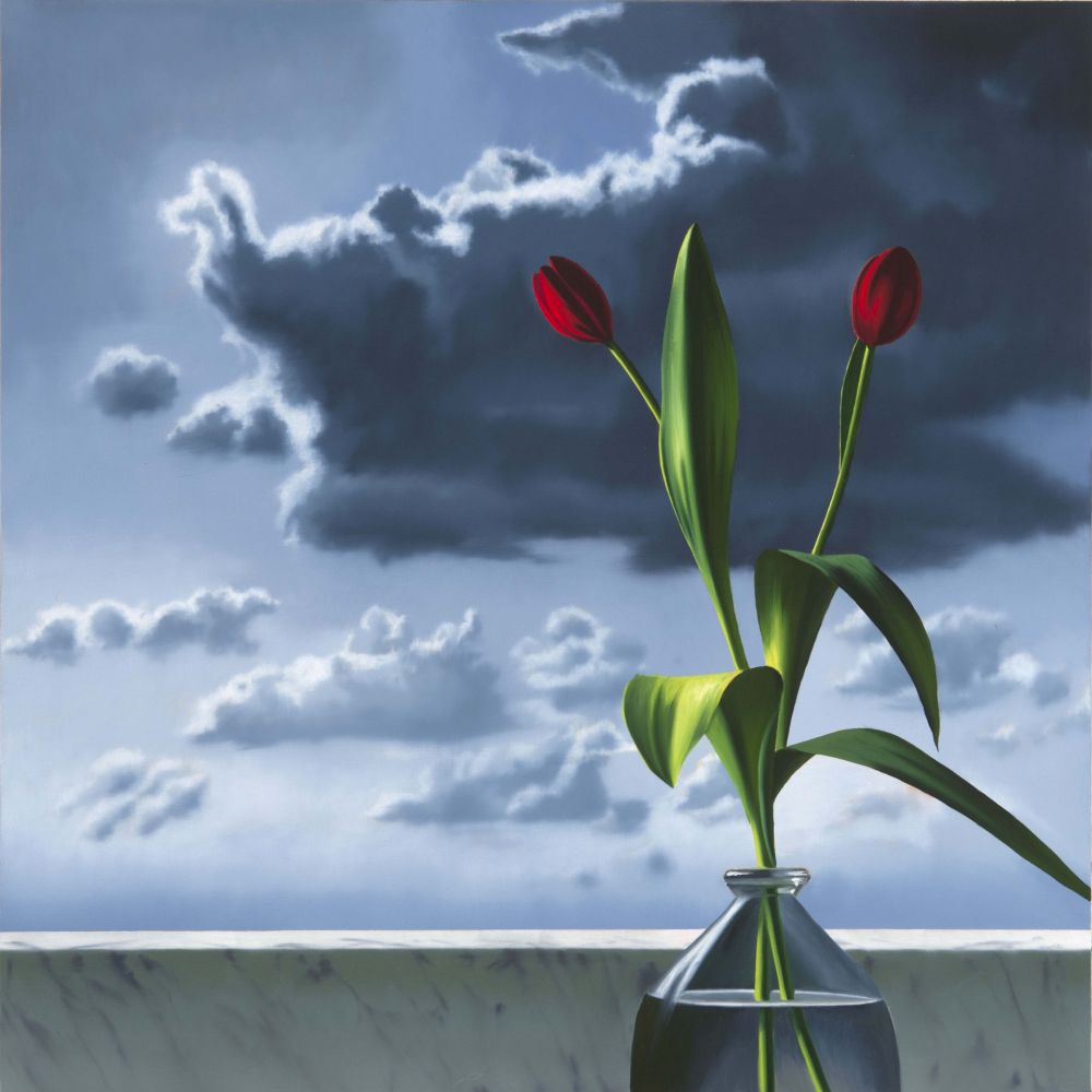 Sin Técnico Cohen - Red Tulips Against Cloudy Sky