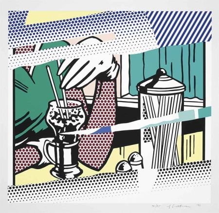 Serigrafía Lichtenstein - Reflections On Soda Fountain