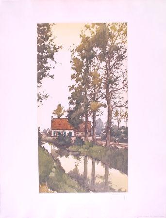 Aguafuerte Hebbelinck - Reflet dans le ruisseau
