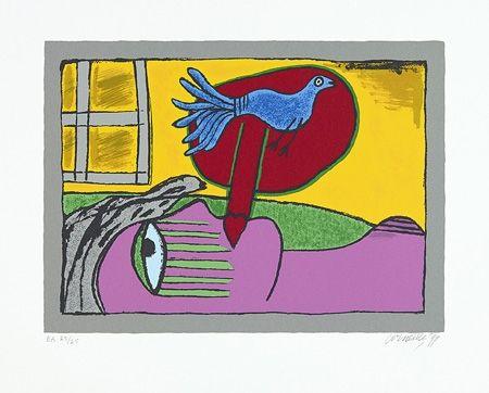 Serigrafía Corneille - Regard sur l'oiseau