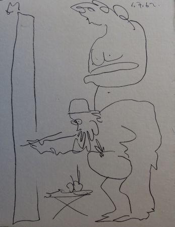 Litografía Picasso - Regards sur Paris - The painter and his model